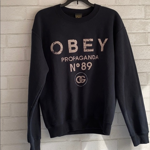 Obey Logo No. 89 Black Navy Crewneck